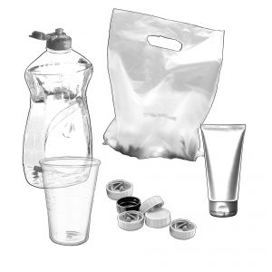single use plastic - plastic bottles, cups, bags, tubes and lids