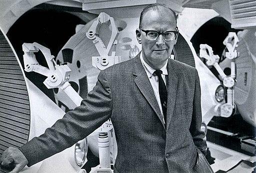 "Arthur C. Clarke on the movie set of ""2001: A Space Odyssey"", 1965"